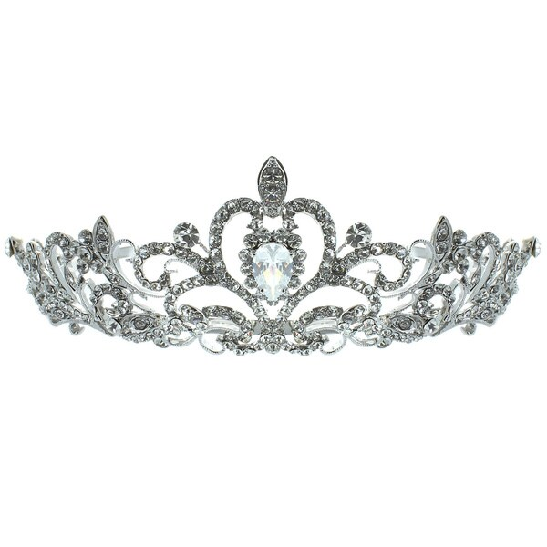 Kate Marie 'Nene' Rhinestone Filigree Crown Tiara with Hair Combs