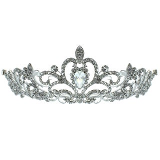Kate Marie 'Nene' Rhinestone Filigree Crown Tiara with Hair Combs