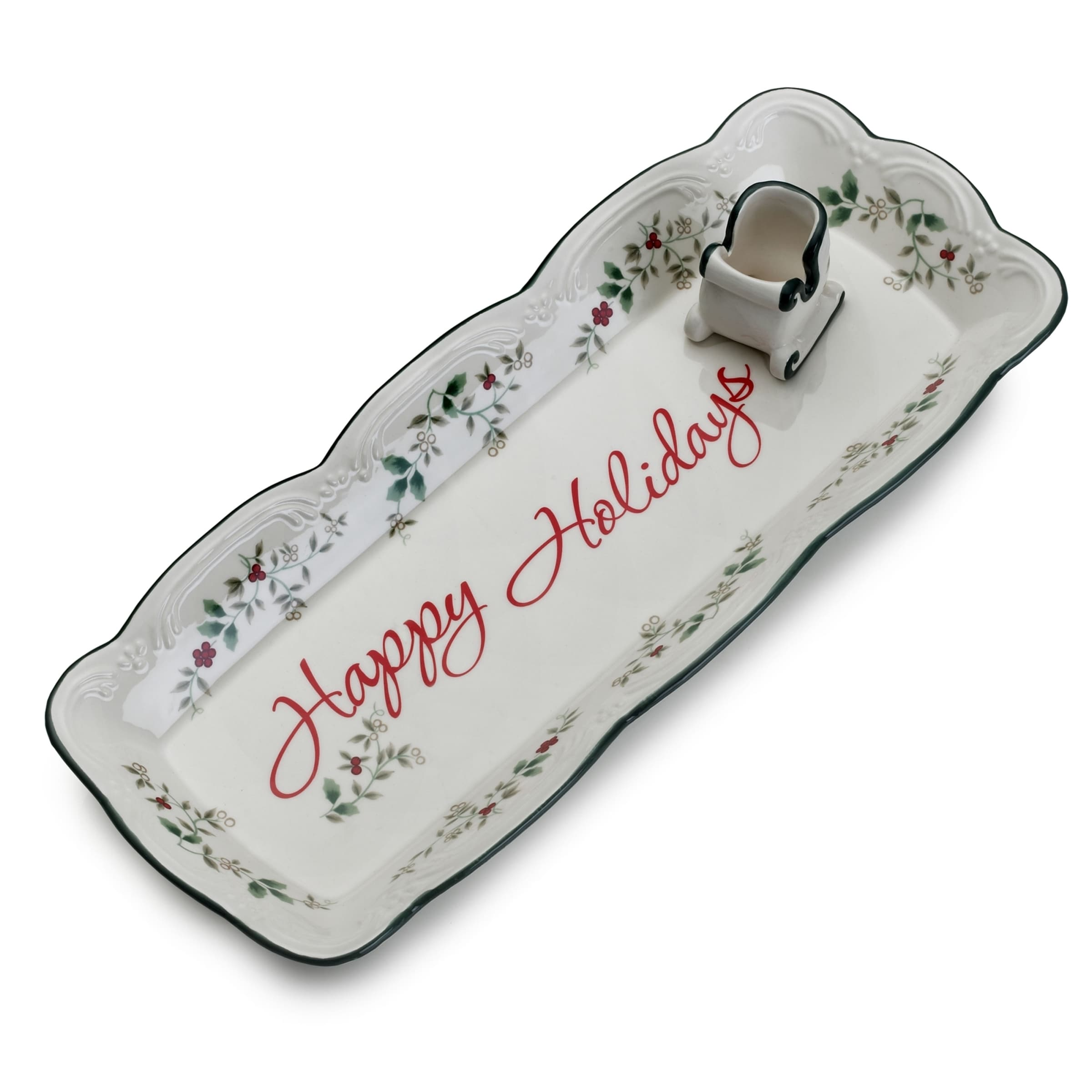 Pfaltzgraff Winterberry Appetizer Tray with Toothpick Hol...