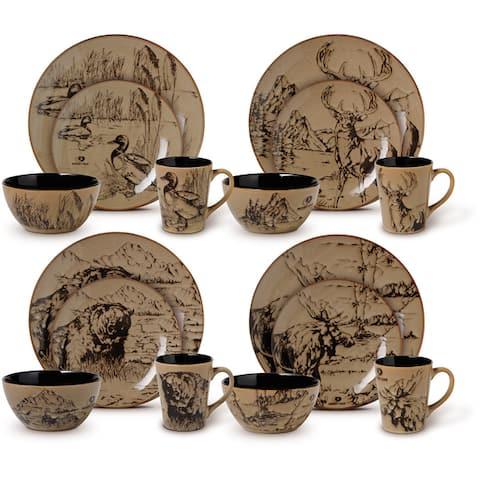 Mossy Oak Wilderness Animals 16 piece Dinnerware Set (Service for 4)