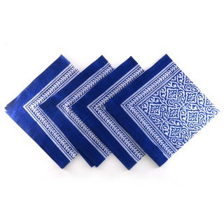 Hand Block Printed Blue Rajastani Print 100-percent Cotton Napkins (India)