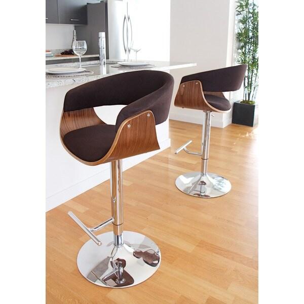 vintage mod midcentury modern wood adjustable bar stool