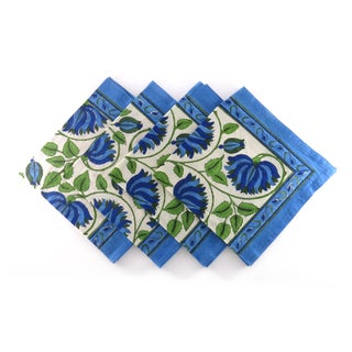 Hand Block Printed Rajastani Lotus Flower Print 100-percent Cotton Napkins (India)