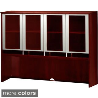 "Mayline Napoli Hutch Desktop Organizer Glass Door Cabinet 72""W x 15""D x 50.5""H"
