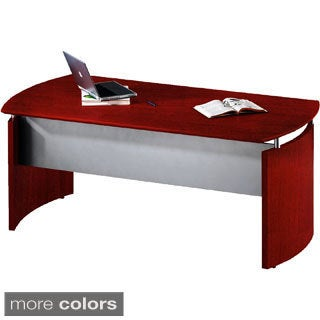 "Mayline Napoli Curved 63""W Desk with Modesty Panel and Silver Accents"