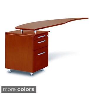 Mayline Napoli Series Left-handed Curved Desk Return with Pedestal