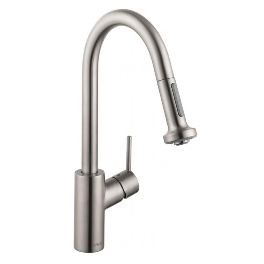 Hansgrohe Talis M Pull Down Kitchen Faucet Function Spray Steel - Hansgrohe talis m pull down kitchen faucet