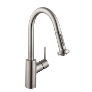 Hansgrohe Talis S 2 Prep Steel Optik Kitchen faucet with 2-spray Pull-down