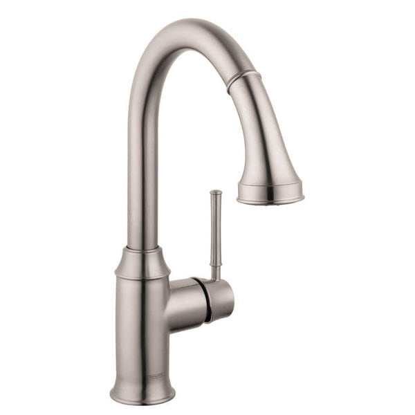 Hansgrohe Talis C Higharc Single Hole Steel Optik Pull Down 2 Spray Low Flow Kitchen Faucet