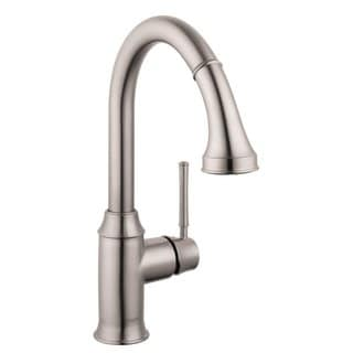 Hansgrohe Talis C Higharc Single Hole Steel Optik Pull-down 2-spray Low-flow Kitchen faucet