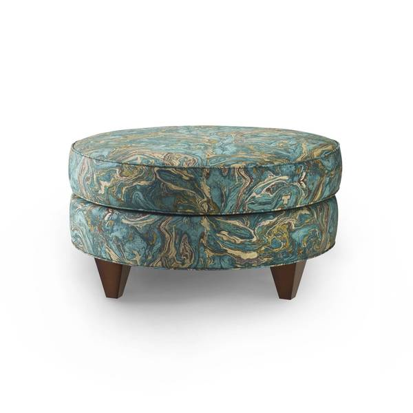 Shop Bax Teal Cotton Upholstered Ottoman Free Shipping