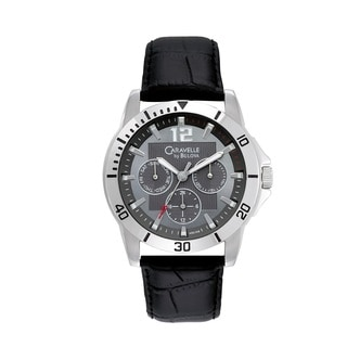 Caravelle by Bulova Men's 43C105 Chronograph Black Leather Watch
