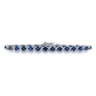 14k White Gold 1/4ct TDW White Diamond Oval-cut Sapphire Bracelet (G-H, SI1-SI2)