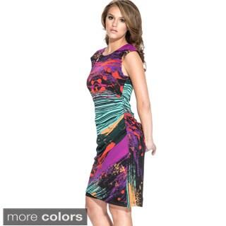 Women's Side Ruched Zipper Back Splatter Dress