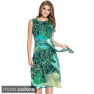Women's Tie Back Multicolored Sleeveless Dress|https://ak1.ostkcdn.com/images/products/9358842/P16551171.jpg?impolicy=medium
