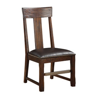 Brown Pine Dining Chair with Bonded Leather Seat (Set of 2)