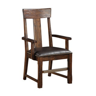 Brown Pine Arm Chair with Bonded Leather Seat (Set of 2)