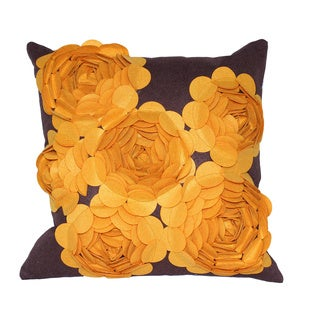 Decorative Brown/ Yellow 3-D Felt Wool Throw Pillow Cover