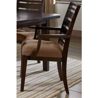 Chestnut Brown Wood Back Upholstered Seat Arm Chair (Set of 2)