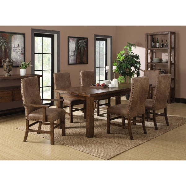 Emerald Home Chambers Creek Dark Pine Upholstered Dining Chair with Nailhead Trim, Set of Two