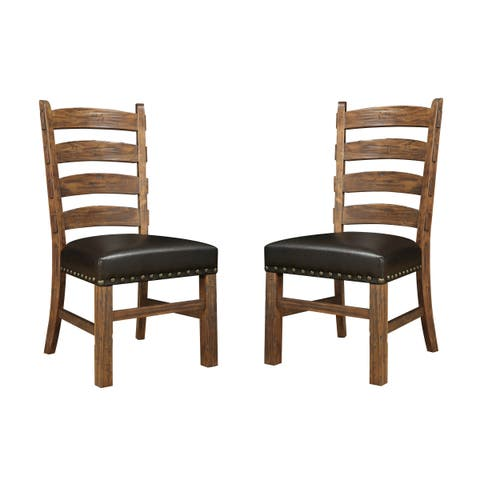 Emerald Home Rustic Ladderback Dining Chair (Set of 2)
