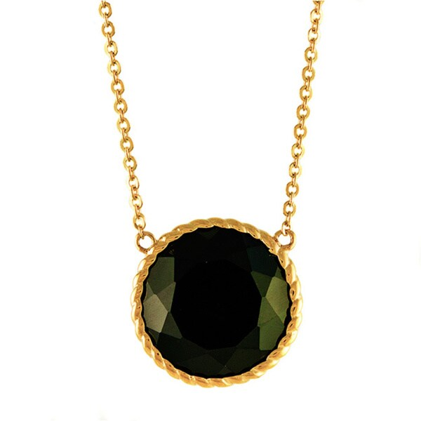 14k Yellow Gold 10 ct. TGW Black Agate Round Necklace