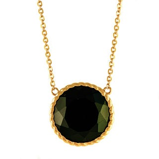Beverly Hills Charm 14k Yellow Gold 10 ct. TGW Black Agate Round Necklace