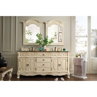 James Martin Furniture Classico Antique White 72-inch Double Granite Vanity Set