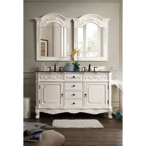 James Martin Furniture Clico White Granite Double Vanity Set