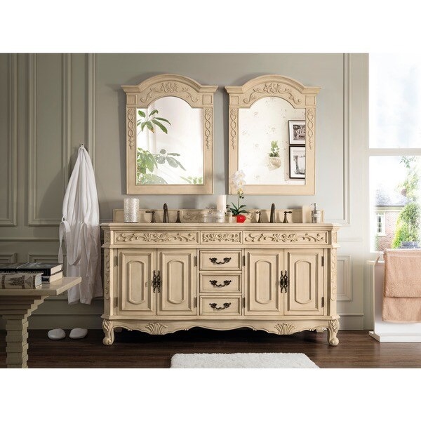 James Martin Furniture Riviera Antique White 72 Inch Double Marble Vanity  With Marble Top