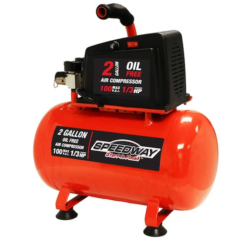 Speedway 2-gallon Oil-free Air Compressor - Red