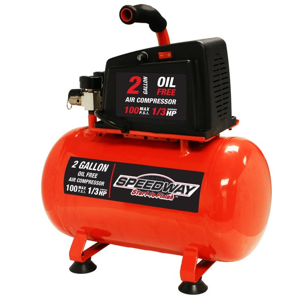 shop speedway 2-gallon oil-free air compressor - red - free shipping ...