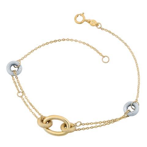 Fremada 10k Two-tone Gold Doughnut And Oval 7-inch Bracelet