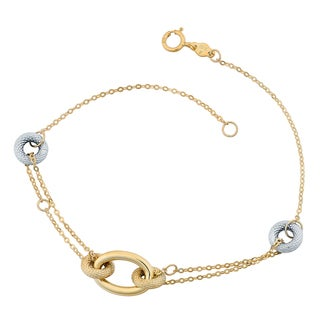 Fremada 10k Two-tone Gold Doughnut And Oval 7-inch Bracelet