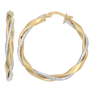 Fremada 10k Two-tone Gold 3x30-mm Twisted Hoop Earrings