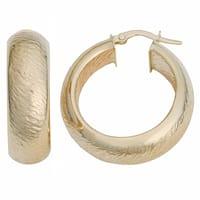 Fremada 10k Yellow Gold 8x20-mm Stone Finish Hoop Earrings