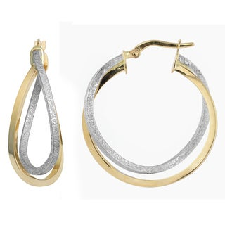 Fremada 10k Two-tone Gold Overlapping Double Hoop Earrings