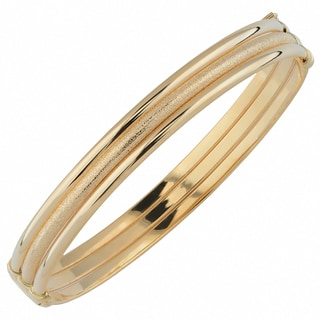 Fremada 10k Yellow Gold 8.5mm Polished/ Glass Blast Bangle