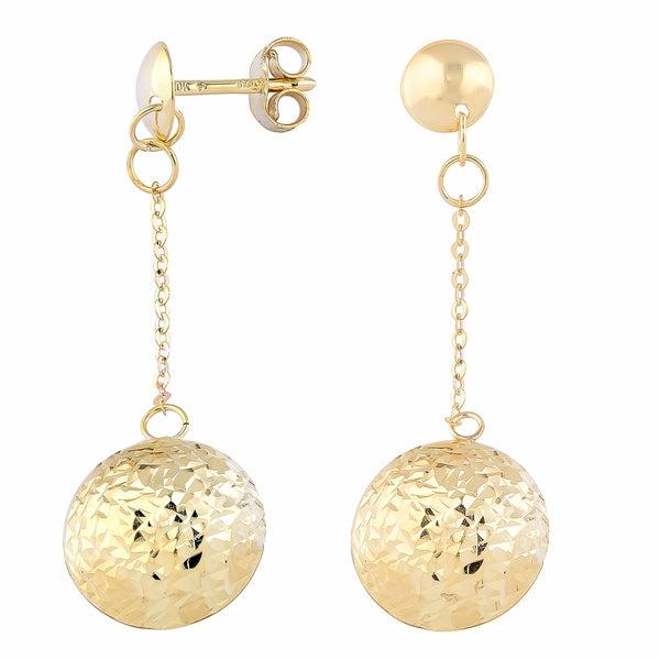 Fremada 10k Yellow Gold Diamond-cut Puffed Circle Dangle Earrings