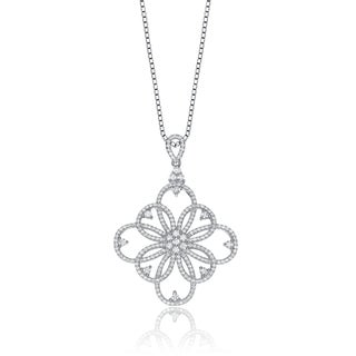 Collette Z Sterling Silver Cubic Zirconia Square Shape Lace Design Necklace
