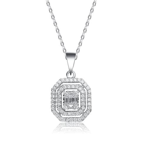 Collette Z Sterling Silver Cubic Zirconia Square Shape Necklace
