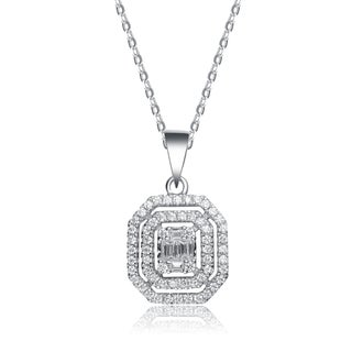 Collette Z Sterling Silver Cubic Zirconia Square Shape Necklace