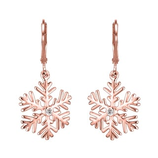 Collette Z Rose-plated Sterling Silver Cubic Zirconia Snowflake Drop Earrings