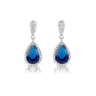 Collette Z Sterling Silver Blue Cubic Zirconia Pear Drop Earrings