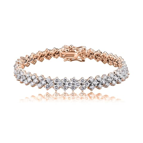 Collette Z Rose Goldplated Sterling Silver Cubic Zirconia Three Row Tennis Bracelet