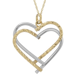 Fremada 10k Two Tone Gold Double Heart Pendant With Delicate Rope Chain Necklace