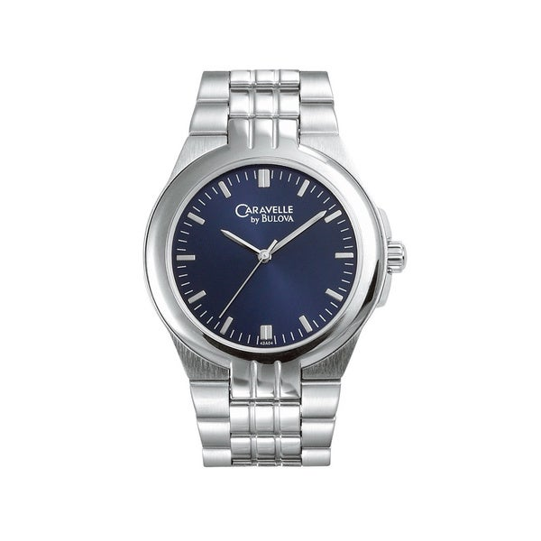 ebb3f3fc5 Shop Caravelle by Bulova Men's 43A108 Blue Dial Stainless Steel Watch -  Free Shipping Today - Overstock - 9359758