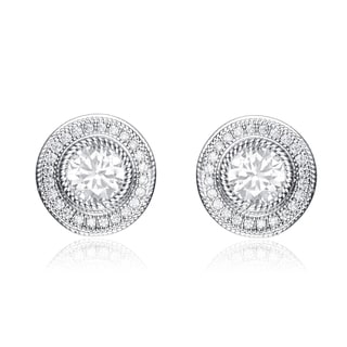 Collette Z Sterling Silver Cubic Zirconia Round Stud Style Jacket Earrings
