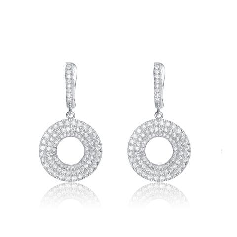 Collette Z Sterling Silver Cubic Zirconia Micro Pave-set Round Earrings