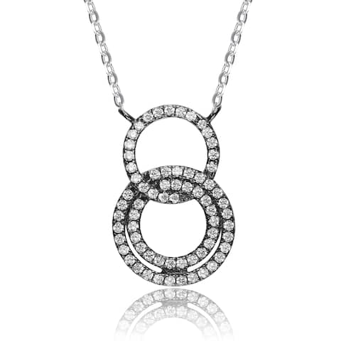 Collette Z Black-plated Sterling Silver White Cubic Zirconia Circle Dangle Necklace